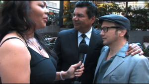 George Lopez & Rob Schneider being interviewed by Michele Jaber of the Dick Gregory Foundation. Video services provided by Webcast & Beyond.