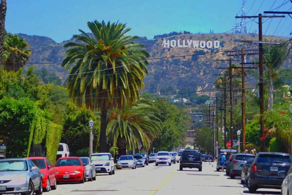 image of Los Angeles with Hollywood sign in background