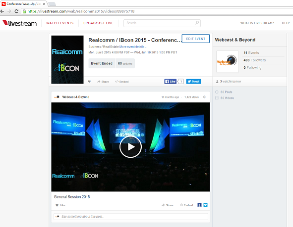 Example of a webpage for watching streaming video